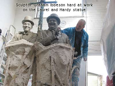 Making the Laurel and Hardy sculpture